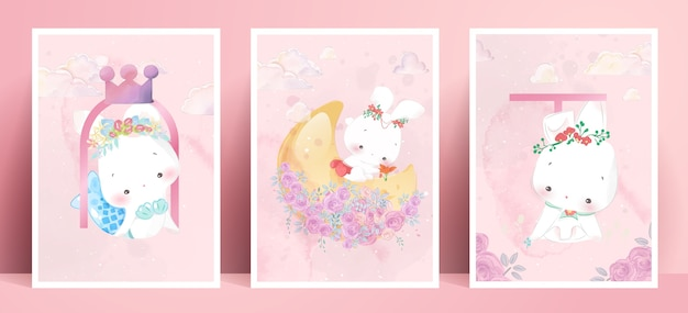 Panorama aquarell malerei lebensstil alltag kaninchen in menschlichen gesten romantische illustration in pastellfarbe ton.