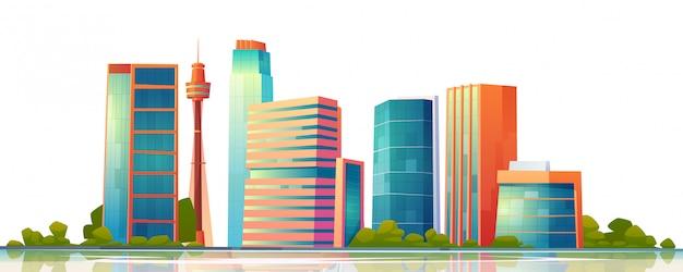 Panorama-banner der skyline des städtischen gebäudes