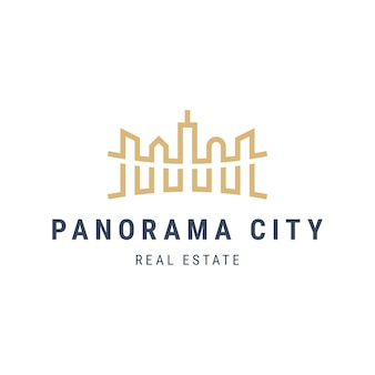 Panorama city landschaftslogo mit wolkenkratzern. architekturgebäude skizzieren illustration. immobilien apartment logo