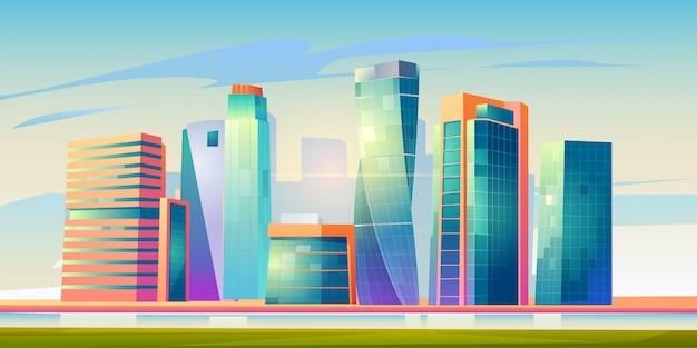 Panorama der skyline des städtischen gebäudes