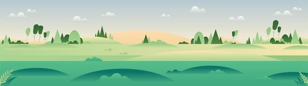 Panorama-frühlings- oder sommerlandschaft im minimalistischen stil
