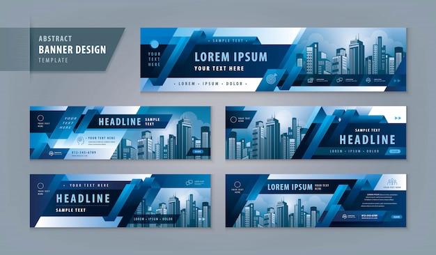 Panorama-header-vorlage mit stadtbild und abstraktem design