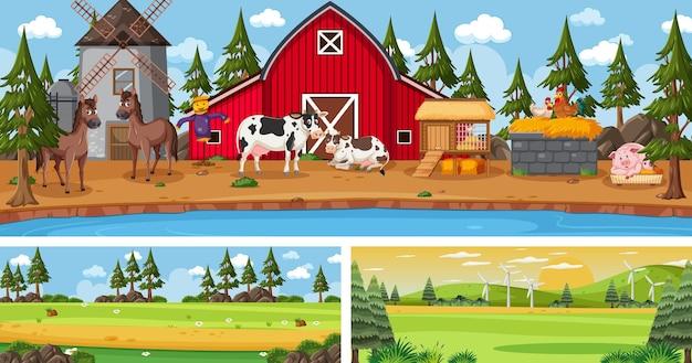 Panorama-landschaftsszenen im freien mit zeichentrickfigur
