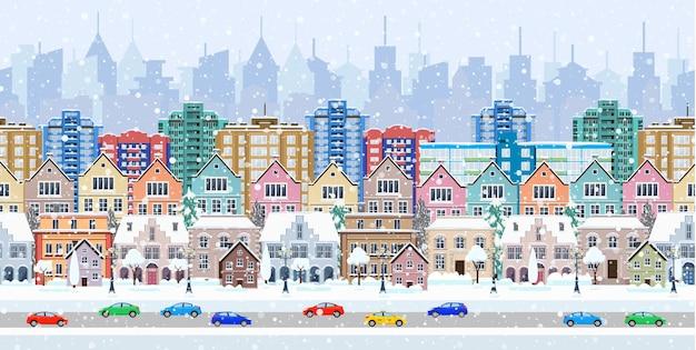 Panorama. nahtlose grenze mit einem winterlichen stadtbild