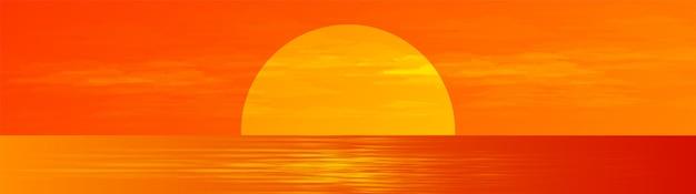 Panorama schöner vollmond auf sunrise sea landschaftshintergrund, sonnenschein und horizontales konzeptdesign.