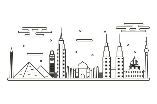 Panorama sehenswürdigkeiten skyline umriss design
