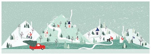Panorama-vektorillustration der städtischen stadtlandschaft im winter mit heben tragenden weihnachtsbaum des lkw auf. minimale weihnachtswinterlandschaft.