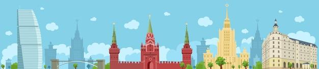 Panorama von moskau mit dem kreml, dem stalinistischen wolkenkratzer, einem hotel. sehenswürdigkeiten von moskau. flache illustration