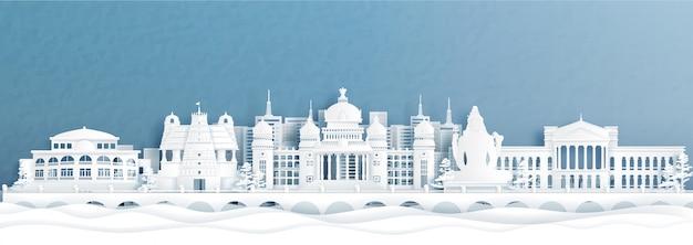 Panoramaansicht der skyline von bengaluru mit indiens berühmten wahrzeichen im papierschnittstil.