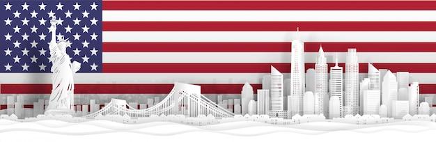 Panoramaansicht der skyline von new york city, vereinigte staaten von amerika