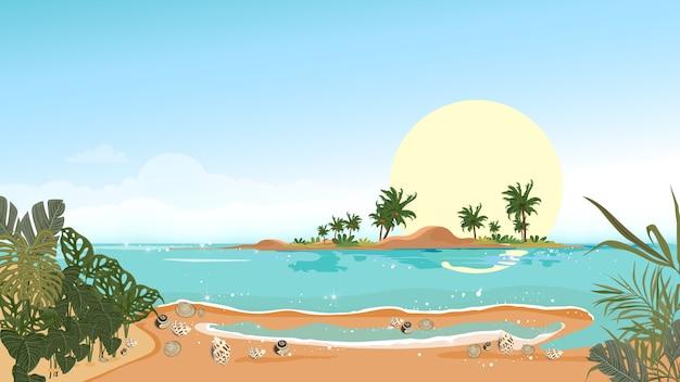 Panoramaansicht tropischer meerblick der blauen ozean- und kokosnusspalme auf insel, panoramischem seestrand und sand mit blauem himmel, vector flache artnatur der illustration der landschaftsküste für sommerferien