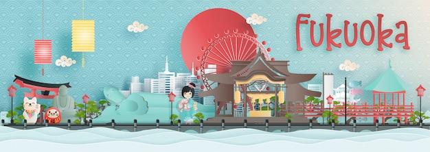 Panoramaansicht von fukuoka-stadtskylinen mit weltberühmten marksteinen von japan