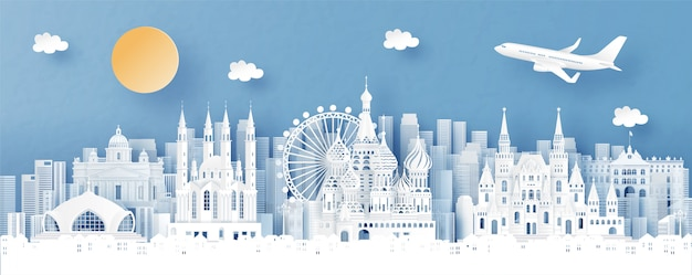 Panoramaansicht von russland und von stadtskylinen mit weltberühmten marksteinen