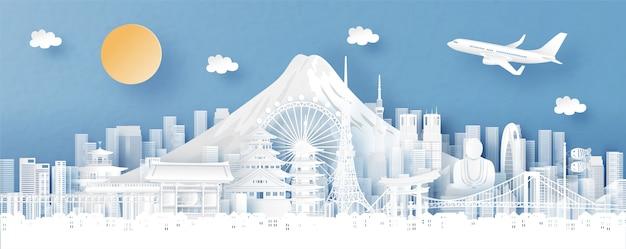Panoramaansicht von tokyo, von japan und von stadtskylinen mit weltberühmten marksteinen