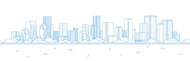 Panoramablick des großen modernen stadtwolkenkratzers
