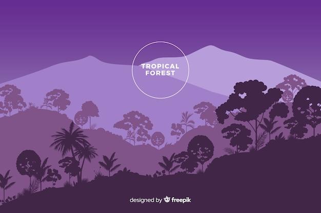 Panoramablick des schönen tropischen waldes in den purpurroten schatten