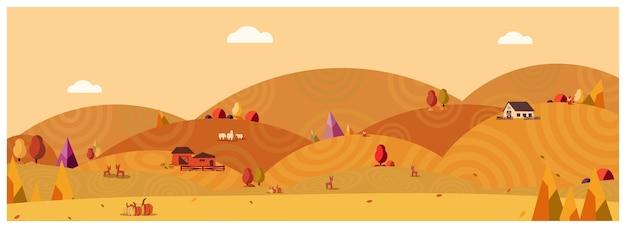 Panoramaillustration der landschaftslandschaft im herbst, fahne des bauernhauses.