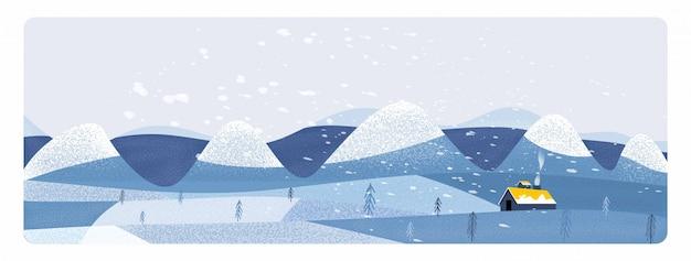Panoramaillustration der landschaftslandschaft im winter. fahne der bauernhoflandschaft der freien form im winter.