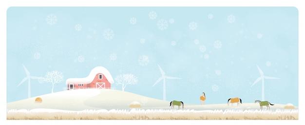 Panoramaillustration der landschaftslandschaft im winter