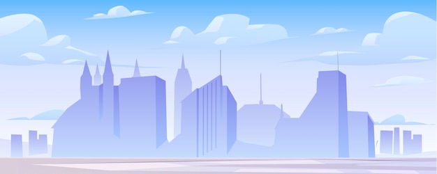 Panoramaillustration der skyline des städtischen gebäudes