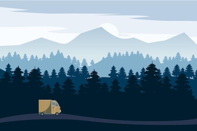 Panoramalandschaftsautobahnfahrt mit schönem fichtenwald