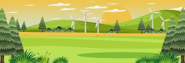 Panoramalandschaftsszene mit vielen windkraftanlagen