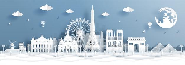 Panoramapostkarte und reiseplakat der weltberühmten sehenswürdigkeiten von paris, frankreich