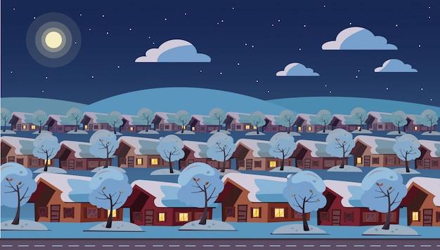 Panoramische nachtlandschaft des einstöckigen vorstadtdorfs. gleiche häuser befinden sich in drei reihen.