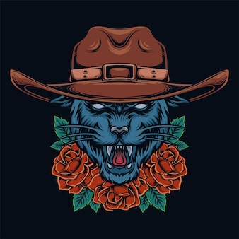 Panther trägt einen cowboyhut mit einer rosenverzierung