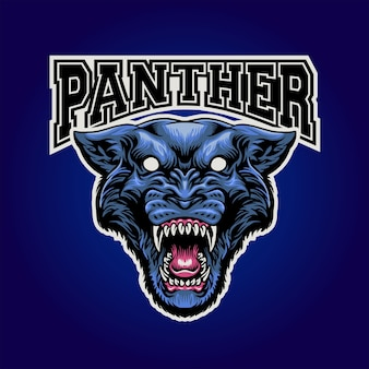 Pantherkopf maskottchen logo
