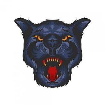 Pantherkopf mit hand gezeichneter illustration