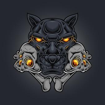 Pantherkopfschädel