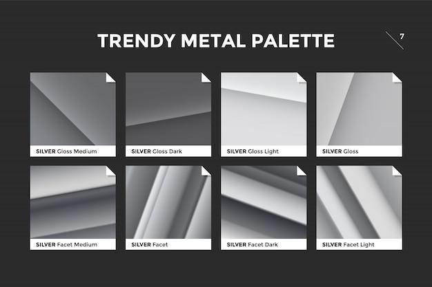 Pantone-set mit silberner farbverlaufspalette
