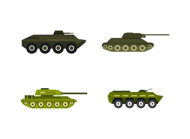 Panzer-icon-set. flacher satz der behältervektor-ikonensammlung lokalisiert