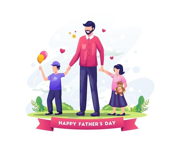 Papa feiert den vatertag, indem er seine kinder spazieren führt flache vektorillustration