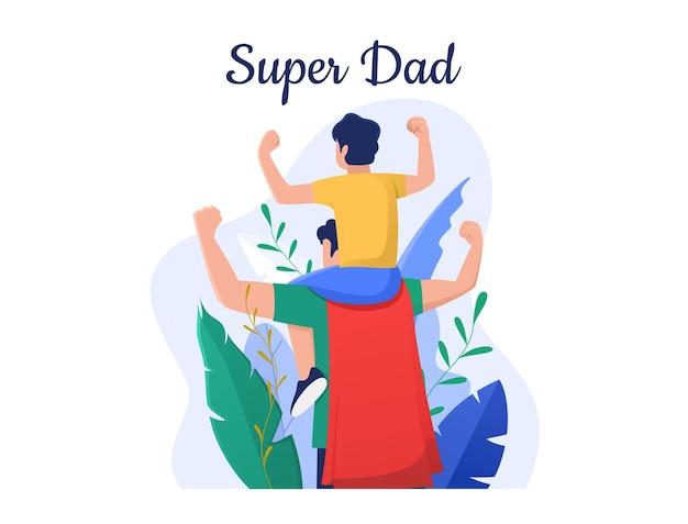 Papa mit superhelden-kostüm trägt seinen sohn auf seiner schulter und ballte die hände zu happy fathers day