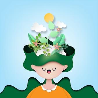 Papaer-kunst des naturkonzeptes mit der frau, welche die grünpflanze denkt.