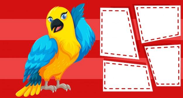 Papagei auf zettel