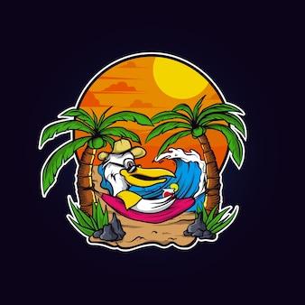 Papagei entspannen sie am strand