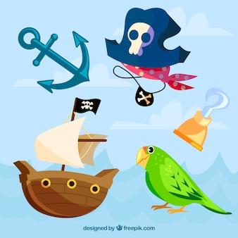 Papagei und typische elemente der piraten