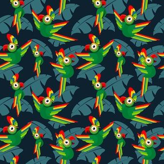 Papageien im tropischen muster des nahtlosen vektors des dschungels