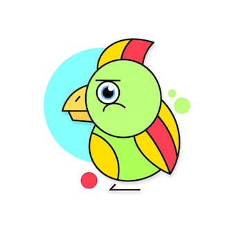 Papageienlogo-vektorillustration auf weißem hintergrund für ihr design Premium Vektoren