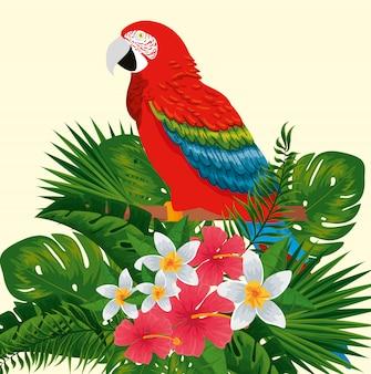 Papageientier mit exotischen blumen und blättern
