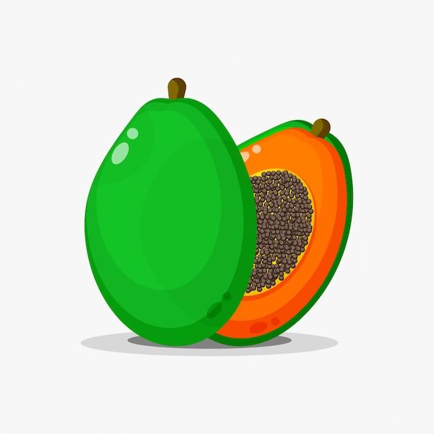 Papaya-frucht und papaya-scheiben