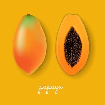 Papaya gelber hintergrund