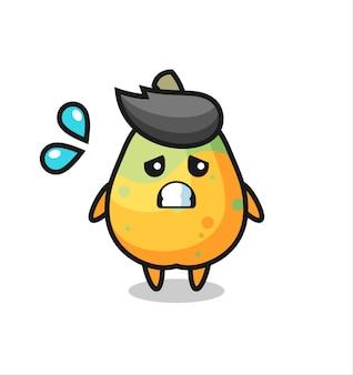 Papaya-maskottchen-charakter mit ängstlicher geste, süßes design für t-shirt, aufkleber, logo-element