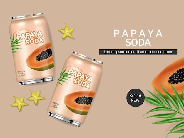 Papaya saftgetränk in dosen vektorrealistisch produktplatzierungspaket frischer natürlicher saft mock-up