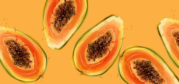 Papaya trägt aquarell früchte