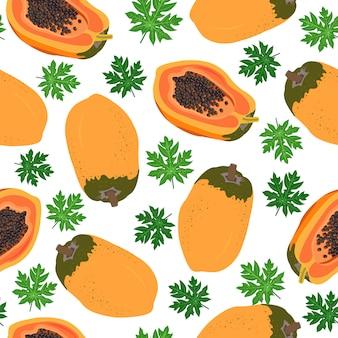 Papaya trägt nahtloses muster mit blättern früchte