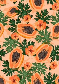 Papaya trägt nahtloses muster mit hibiscusblume früchte